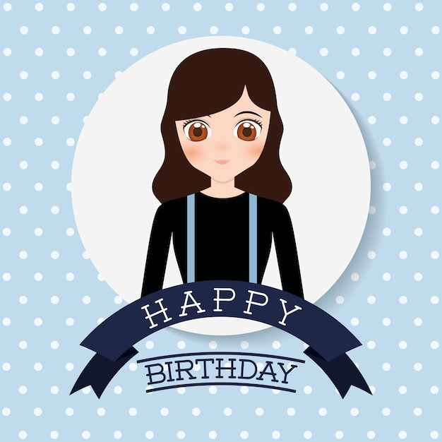 Happy Birthday Card With Anime Girl Icon Colorful Design Vector