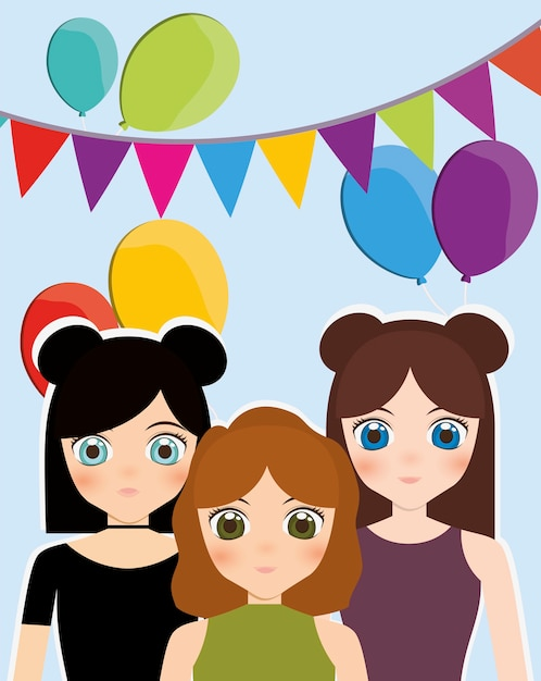 Happy Birthday Card With Anime Girls And Balloons Vector Premium