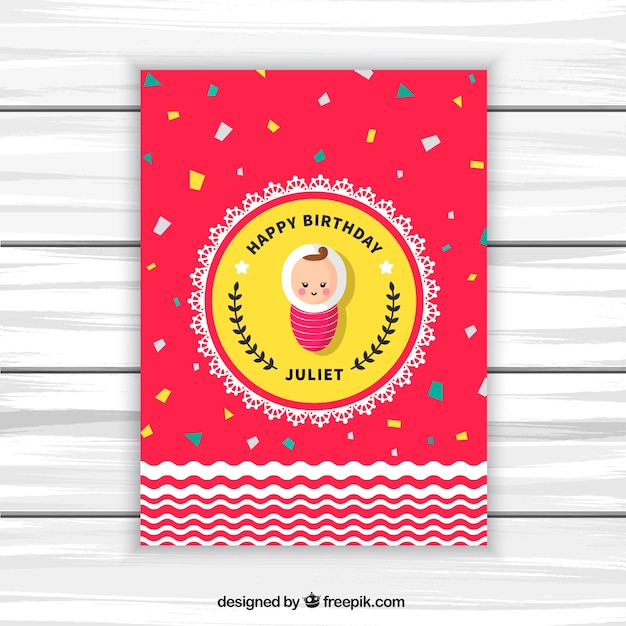 Happy birthday card with baby and\ confetti