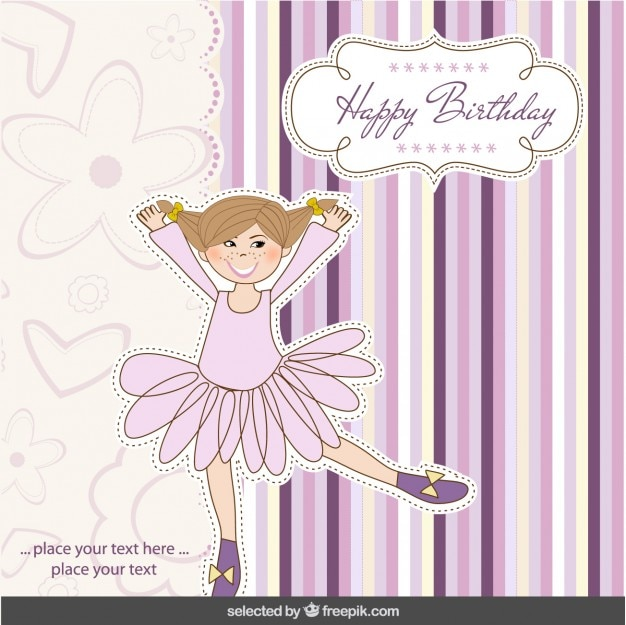 Happy Birthday Card With Ballerina Vector Free Download