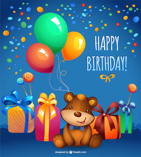 Happy birthday card with balloons and confetti Free Vector