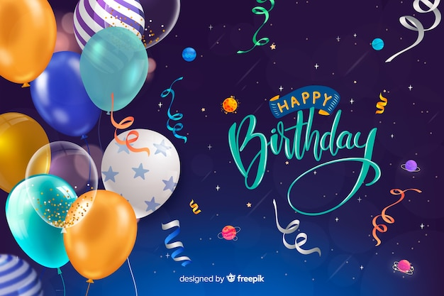 Happy birthday card with balloons and confetti Premium Vector