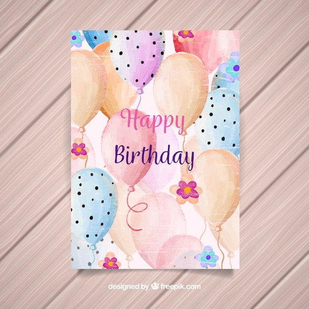Happy birthday card with balloons in watercolor\ style