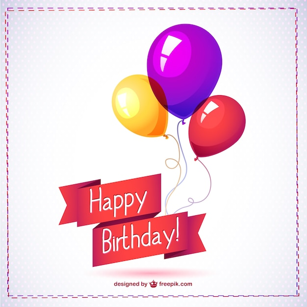 Happy Birthday Card With Balloons Free Vector  Happy Birthday Card Template Free Download
