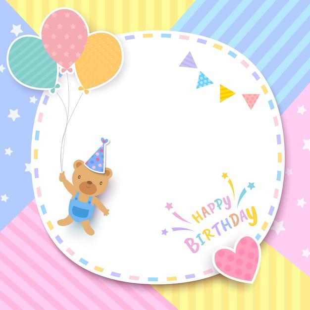 С днем рождения открытка с медведем, держа воздушные шары и рамка на узор пастельных фоне Premium векторы