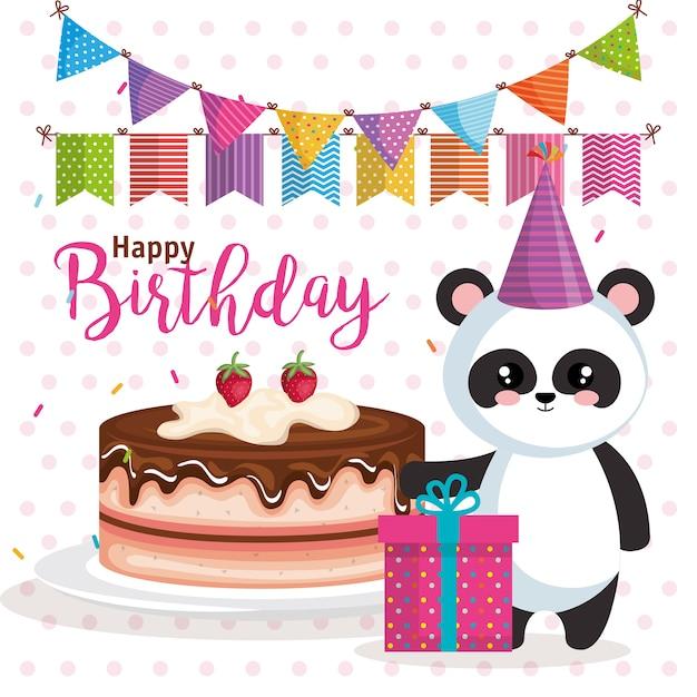 Happy Birthday Card With Bear Panda Vector Premium Download