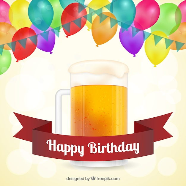 Happy Birthday card with beer Vector – Free Download Birthday Cards