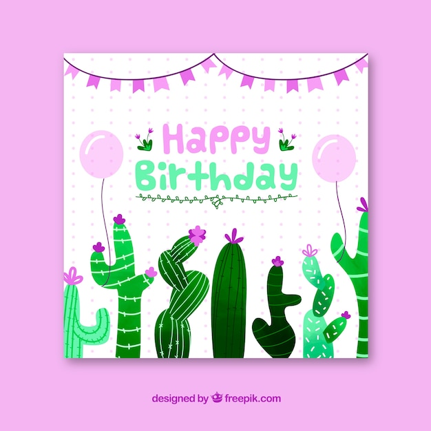 Happy birthday card with cactus in flat\ style