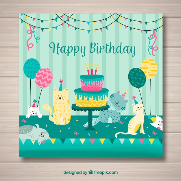 Happy Birthday Card With Cake And Cats In Flat Style Stock Images