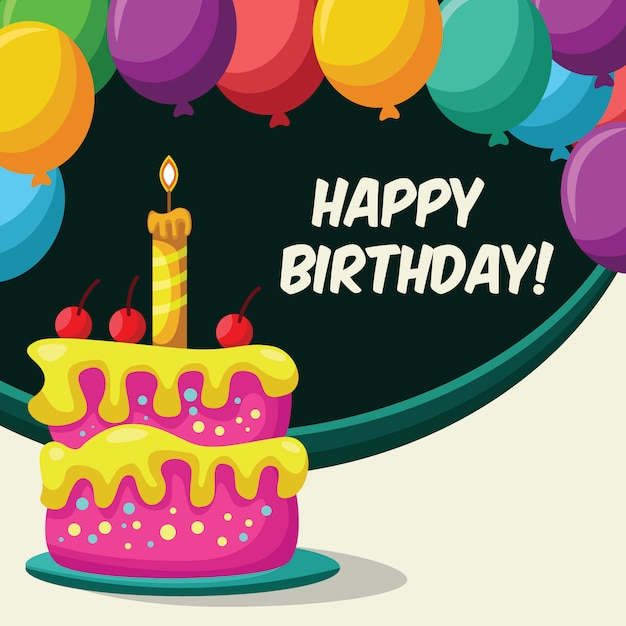 Happy Birthday Card With Cake And Colorful Balloons Vector Premium