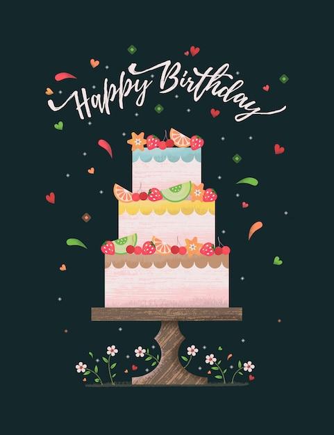ケーキと花の誕生日カード Premiumベクター