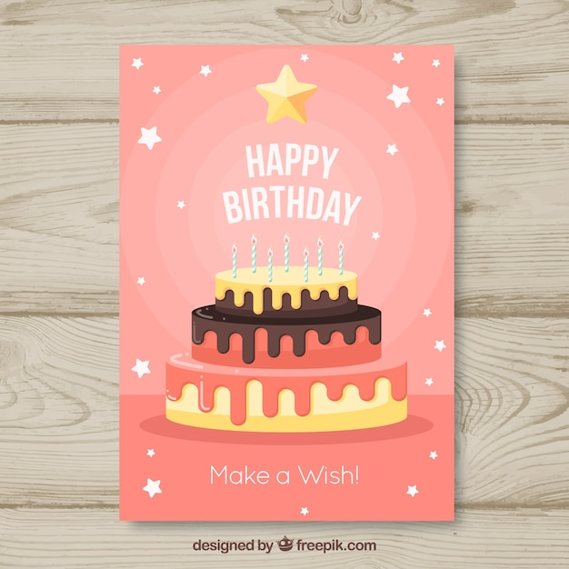 Happy birthday card with cake in flat\ style