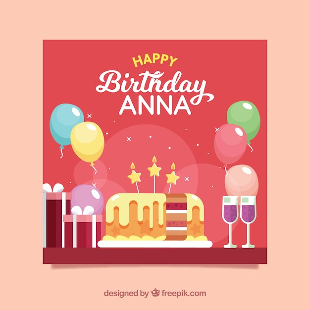 Happy birthday card with cake in flat style Free Vector