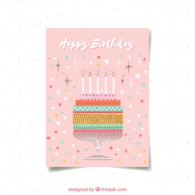 Happy birthday card with cake in hand drawn\ style
