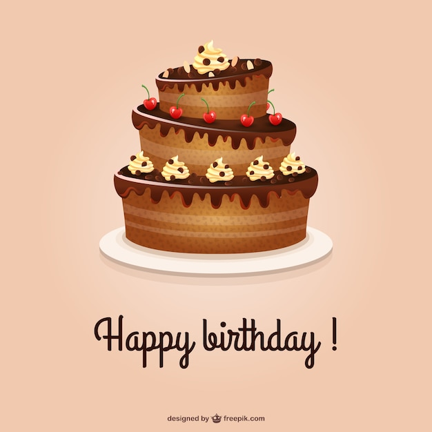 Happy Birthday card with cake Vector – Free Birthday Cards Download