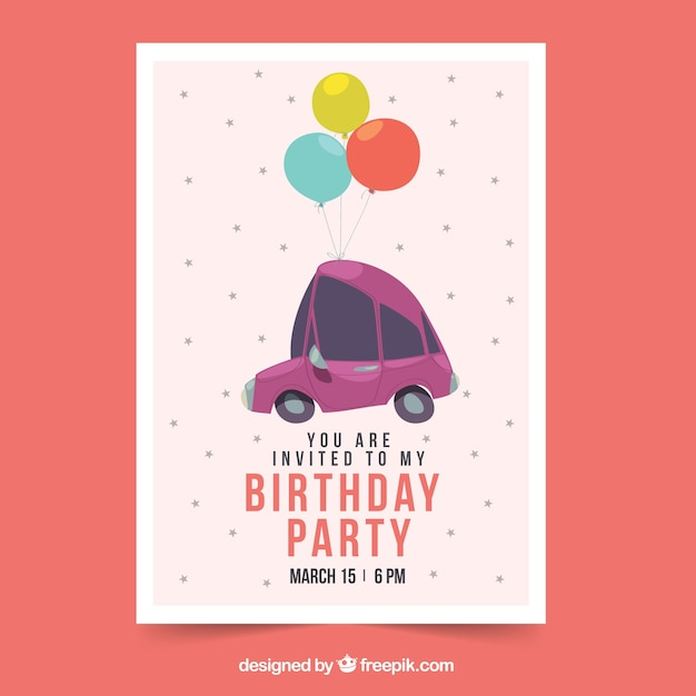 Happy birthday card with car and balloons in\ flat style