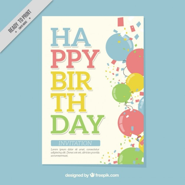 Happy birthday card with colored balloons and\ confetti