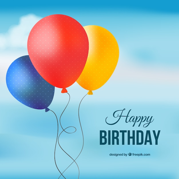 Happy Birthday Card With Colored Balloons Free Vector