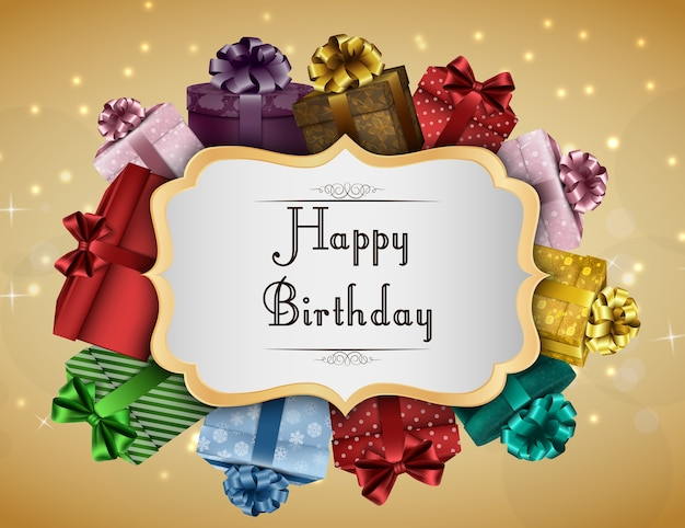 Happy Birthday Card With Colorful Gift Boxes Vector Premium Download