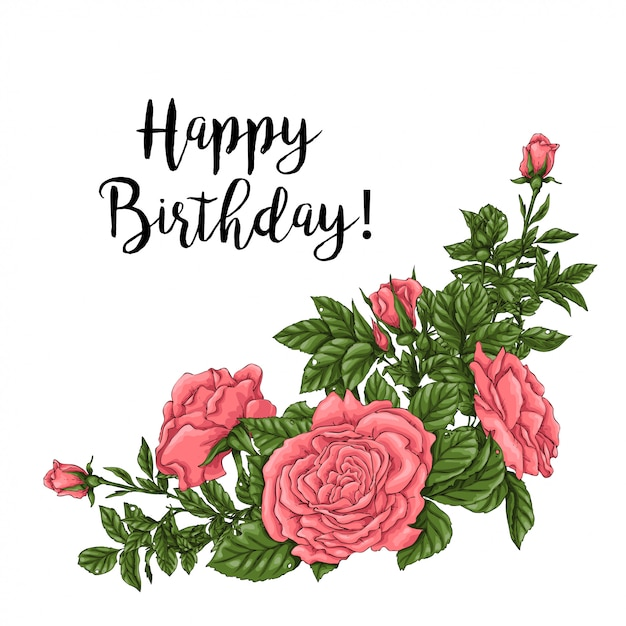 Happy birthday card with coral roses. hand drawing vector illustration Premium Vector