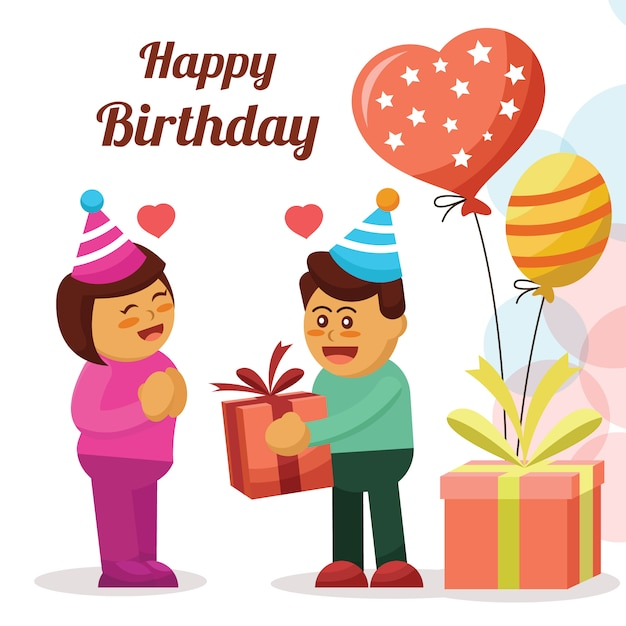 Happy Birthday Card With Couple Cartoon Character Vector