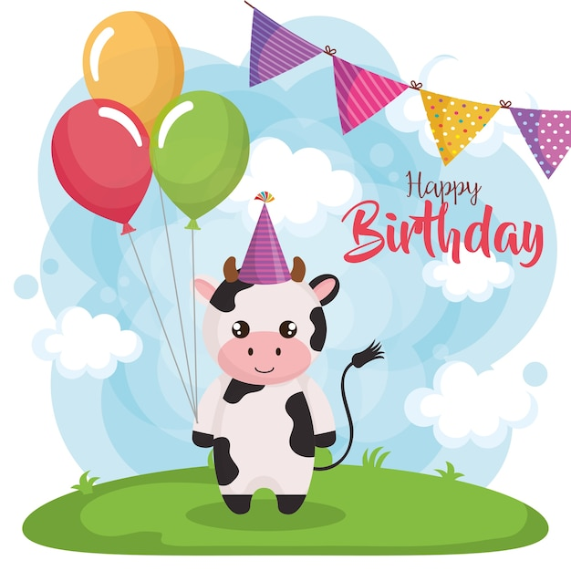 Happy Birthday Card With Cow Vector Premium Download