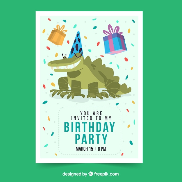 Happy birthday card with crocodile in flat style Free Vector