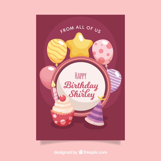 Happy birthday card with cupcake in flat style Free Vector
