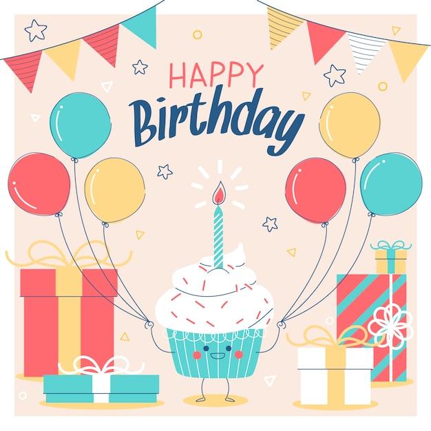カップケーキとお誕生日おめでとうカード 無料ベクター