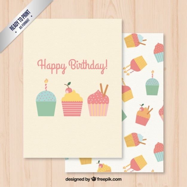 Happy Birthday Card With Cupcakes Vector Premium Download