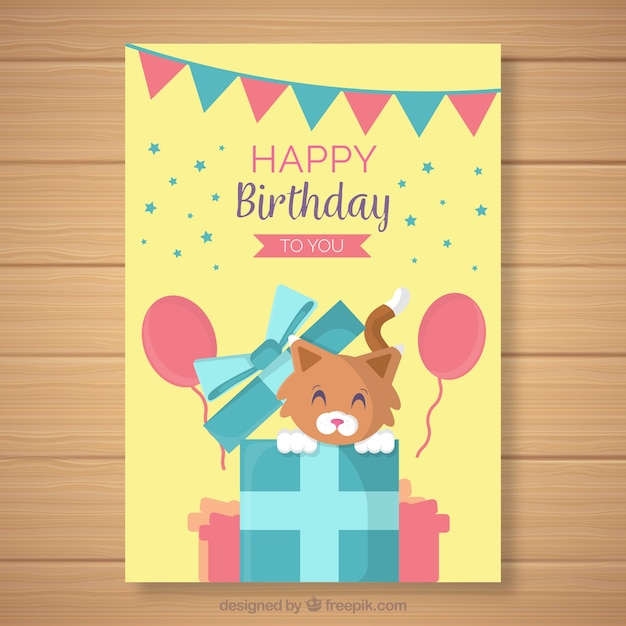 Happy Birthday Card With Cute Animal Free Vector