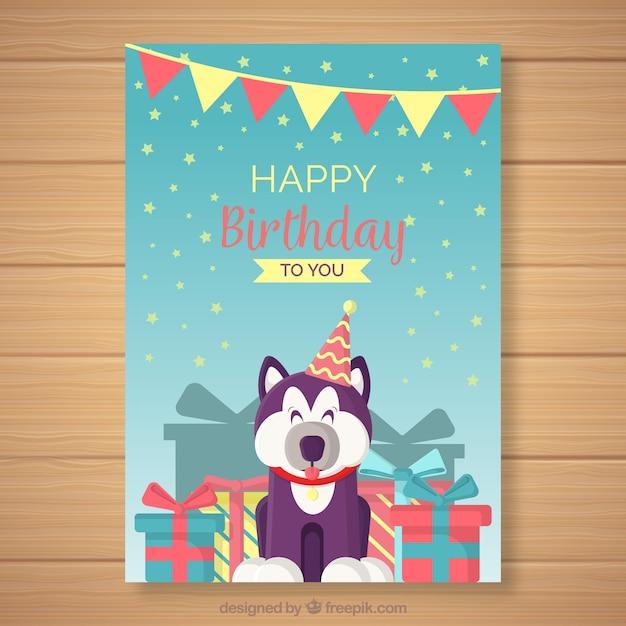 Happy Birthday Card With Cute Animal Vector