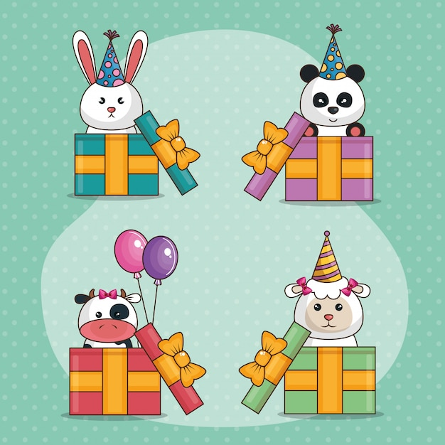Happy birthday card with cute animals Free Vector