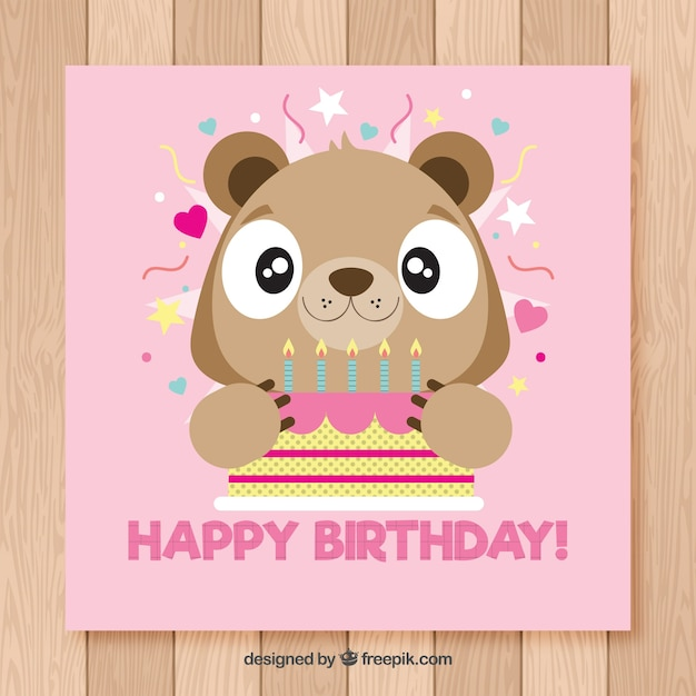 Happy birthday card with cute bear in flat style vector free download happy birthday card with cute bear in flat style free vector bookmarktalkfo Images