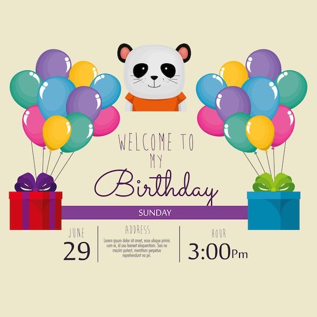 Happy Birthday Card With Cute Bear Panda Vector Premium Download