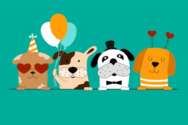 Happy Birthday Card With Cute Dogs Premium Vector