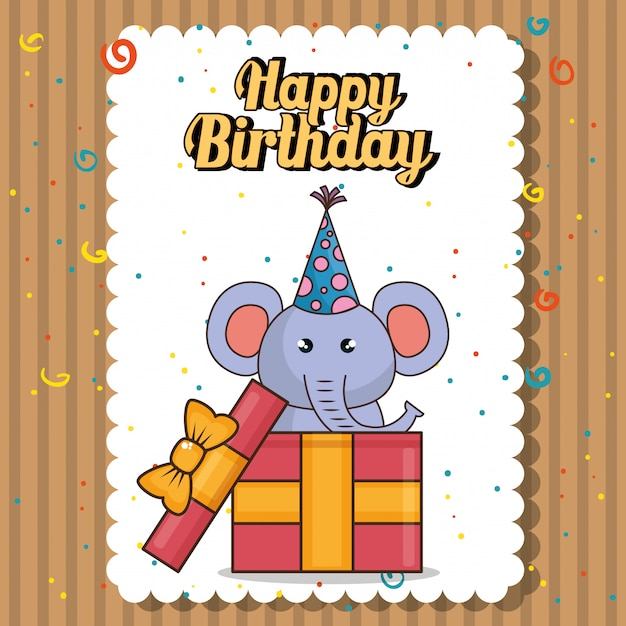 Happy birthday card with cute elephant Free Vector