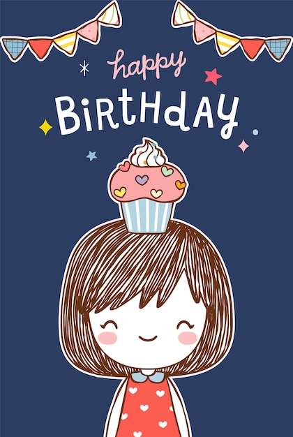 happy birthday card with cute girl in flat style vector