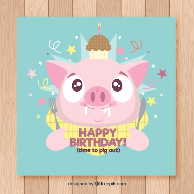 Happy birthday card with cute pork in flat style Free Vector