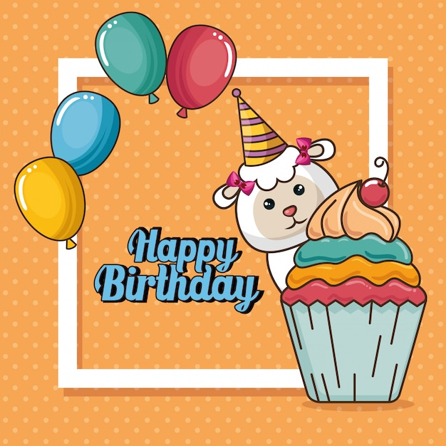 Happy birthday card with cute sheep Free Vector