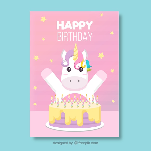 Happy Birthday Card With Cute Unicorn And Cake Vector