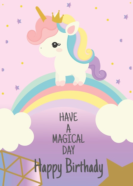 Happy Birthday Card With Cute Unicorn Greeting Hand Written Text Premium Vector