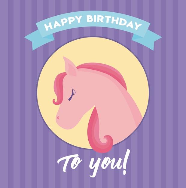 happy birthday card with cute unicorn head vector