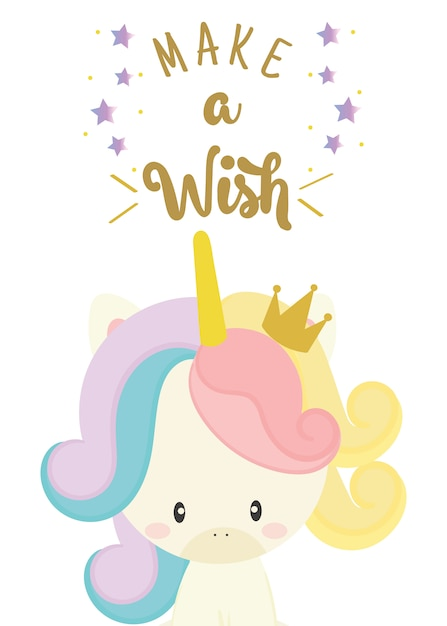 Happy birthday card with cute unicorn | Premium Vector