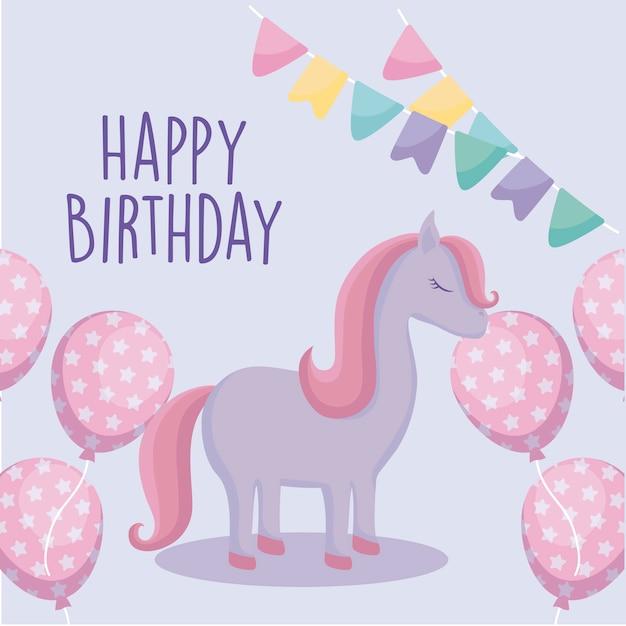 happy birthday card with cute unicorn vector  premium