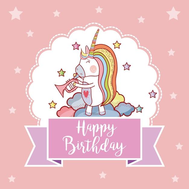 Happy birthday card with cute unicorns fantasy cartoons Premium Vector