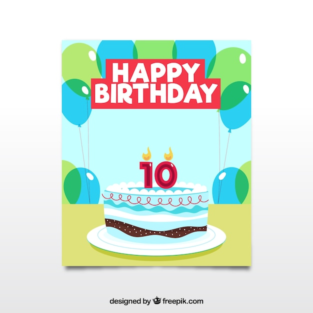 Happy birthday card with delicious cake in flat\ style