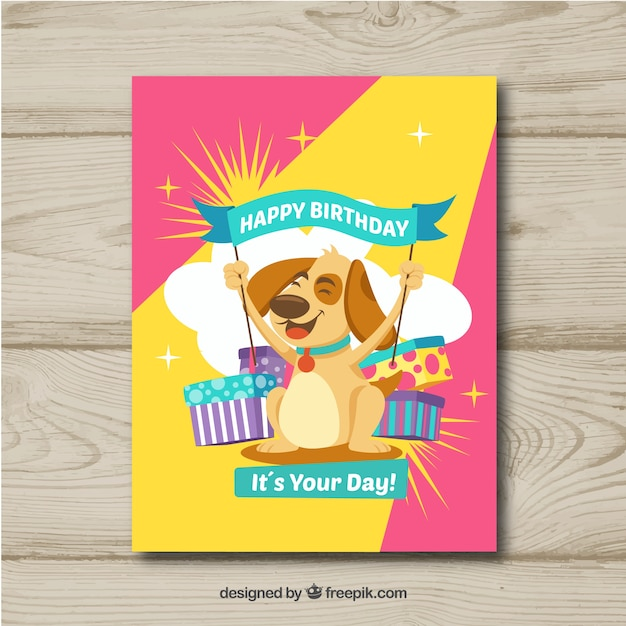 Happy Birthday Card With Dog In Flat Style Vector Free Download