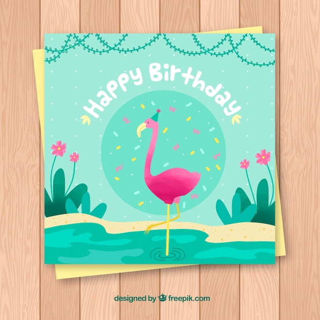 Happy birthday card with flamenco in flat\ style