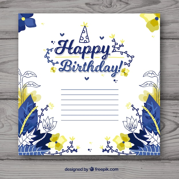 Happy birthday card with flowers in flat\ style